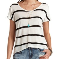 BUTTONED BACKLESS STRIPED TOP