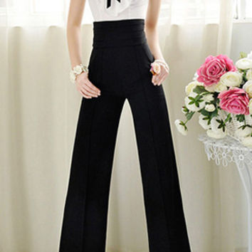 Black High Elastic Waist Wide-Leg Pants