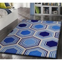 5x7 TRANSITION Contemporary Hand Tufted Hand Carved TF62 BLUE Rug 5' x 7'