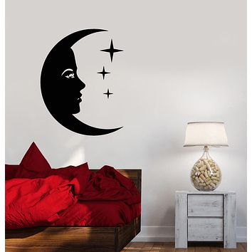 Vinyl Wall Decal Cartoon Moon Face Stars Night Children's Room Stickers (3305ig)