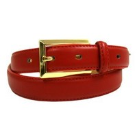 Luxury Divas Red Leather Dress Belt Gold Rectangle Buckle Size 36
