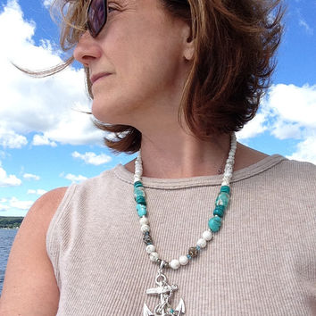 Large Anchor Necklace with Gemstone Beads, Genuine Turquoise, Magnesite, Agate, Faceted pyrite, Silver Nautical Jewelry, Made to Order.