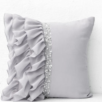 Silver grey ruffled sequin throw pillow - 18X18  Decorative Pillows - Gray cushion covers - Gift for Christmas, holiday- Grey Ruffle pillows