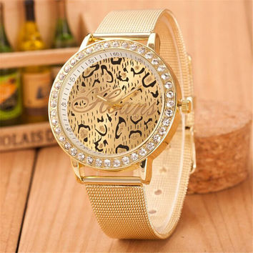 GIRL WOMEN FASHION LEOPARD GOLD WATCHES CASUAL SPORTS WATCH WITH DIAMOND GIFT 393