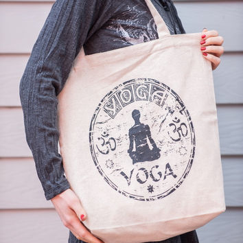Recycled Cotton Canvas Shopping Tote Bag Yoga Natural