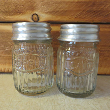 Unique Vintage Inspired Rustic Hoosier Kitchen Cabinet Mfg. Co Glass Salt & Pepper Set