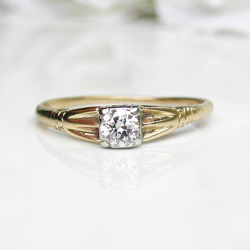 Art Deco Engagement Ring 0.25ct Transitional Cut Diamond Ring 14K Two Tone Gold Diamond Wedding Ring Size 7.5