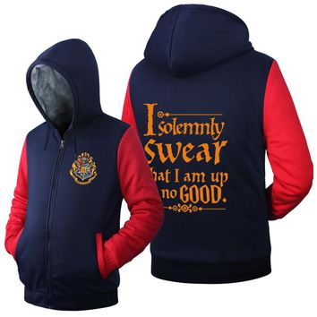 men autumn winter jacket I Solemnly Swear That I Am Up No Good Funny letter print fleece thicken mens long sleeve hooded