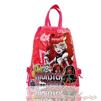 1pcs Monster High Childrens Girls Drawstring Backpack Cartoon Bags,Multipurpose bag,34*27cm,Kids School Party Bags as Gifts