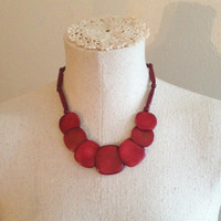 Red Bead Necklace and Bracelet Set - Vintage Necklace and Bracelet Set - Red Necklace and Bracelet