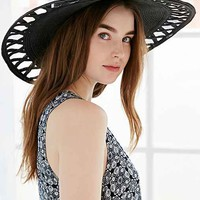 San Diego Hat Company Cutout Floppy Straw Hat- Black One