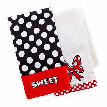 disney parks minnie mouse bow sweet dish towel set new with tag