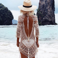 New Backless Cover up Strings Halter Women One-piece Hollow Out  Bikini Culote Quality Knits Beachwear Robe Sexy Lace Pullovers