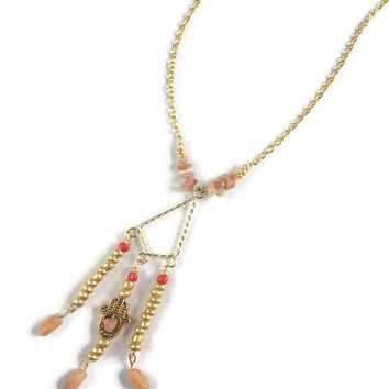 Hold My Hamsa Carnelian Pendant Necklace