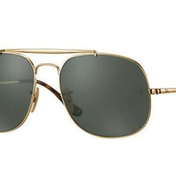 Kalete NWT RAY-BAN THE GENERAL GREEN LENS GOLD FRAME AVIATOR SUNGLASSES RB3561 57-17