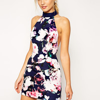 Blue High Neckline Backless Floral Printed Mini Dress