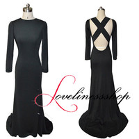 O-neck black knit fabric long prom dress long sleeve backless evening dress floor length mermaid evening prom dress