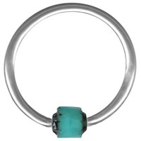 Turquoise Black Cathedral Bead Captive Ring-16g-14g Cartilage Earring-Steel Septum Jewelry-Nipple Ring