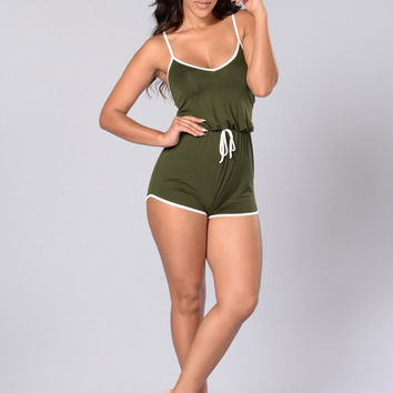 Team Player Romper - Olive/White