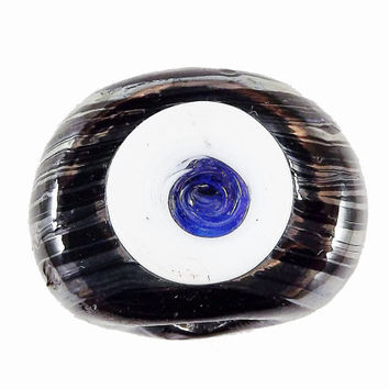 Black Swirl Evil Eye Nazar Glass Bead - Traditional Turkish Handmade