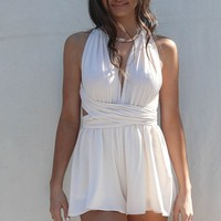 Gili Islands Cream Satin Halter Wrap Romper