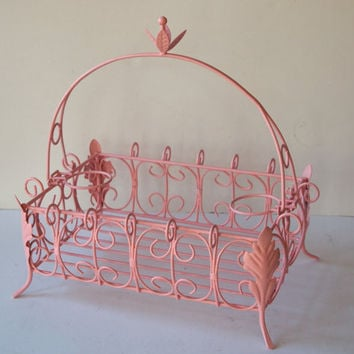 Basket Vintage Metal French Wire Scrolly Painted by MollyMcShabby