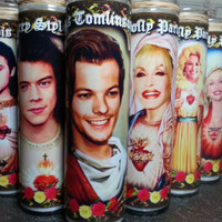 "Your Requested Celebrity on a Candle -  8""  Rock, Movie, TV Star Tribute Devotional Candle  - Heavenly geekery"