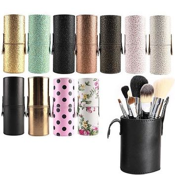 Travel Makeup Brush Pen Storage Holder Cosmetic Faux Leather Case Box Container