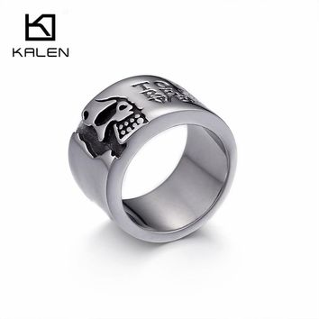 KALEN Punk Stainless Steel Silver Skull Rings For Men Metal Half Face Skeleton Rings Motto Charm Finger Ring Size 8-12 For Party