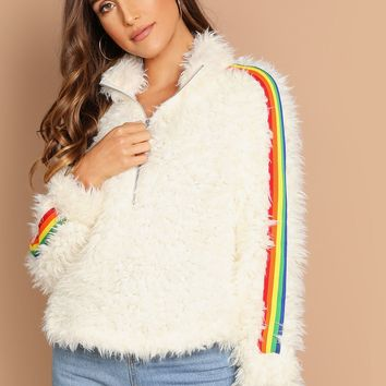 Rainbow Tape Detail Half Placket Teddy Jacket