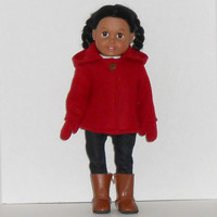 American Girl Doll Red Hooded Fleece Coat & Mittens