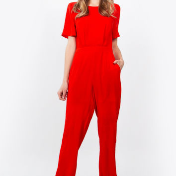 Sugar Lips Bow Tie Short Sleeve Red Jumpsuit