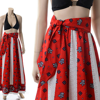 Vintage 60s 70s Prairie Floral Print Maxi Skirt 1960s 1970s Patriotic Red White and Blue Eyelet Lace Hippie Boho Skirt / X-Small / Small