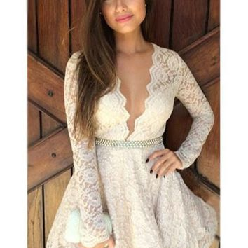 White Floral Ruffle Plunging Neckline Long Sleeve Lace Dress
