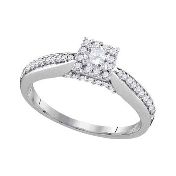 10kt White Gold Womens Round Diamond Solitaire Square Halo Bridal Wedding Engagement Ring 1/2 Cttw