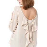 Coletta Bow Blouse in Sand - ShopSosie.com