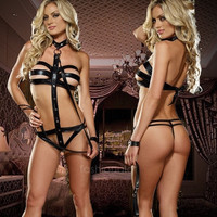 Sexy Faux Leather Erotic Lingerie Clubwear Teddy For women Ladies FT = 1932385412
