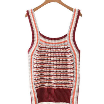 Multicolor Ribbed Knit Tank Top