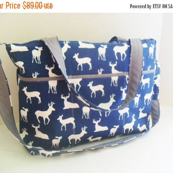 SALE Large Diaper Bag - Navy Blue Deer - Zipper Closure - Messenger - Tote Bag - Diaper Bag - Stroller Strap - Monogramming Available - Lapt