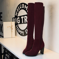 Thick Heels Shoes Fashion Solid Winter Boots Ladies Long Boots 2017 New Arrival Women Knee High  Platform Botas SMYDS-C0162