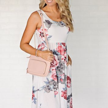 * Orlando Floral Dress With Pockets : Ivory