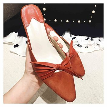 Krazing Pot slingback high heels pointed toe bowtie kid suede women sandals gladiator runway summer mules big size slippers 1-1