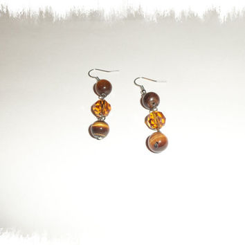 Brown Tigereye and Topaz Dangle Earrings