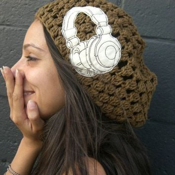 Headphones Are For Girls Slouchy Crochet Beanie  Hat