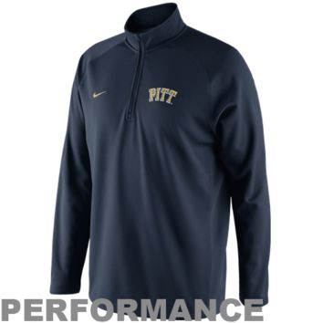 Nike Pittsburgh Panthers Youth Elite Quarter Zip Mock Turtleneck Performance Jacket - Navy Blue - http://www.shareasale.com/m-pr.cfm?merchantID=7124&userID=1042934&productID=528450583 / Pitt Panthers
