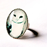 Snow Owl Ring Brushed Silver Adjustable