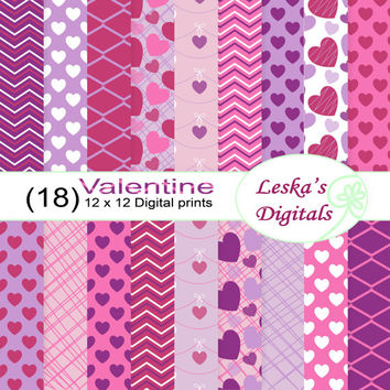Valentine digital paper, hearts digital paper in pink and purple, valentine digital background for scrapbooking and creative projects