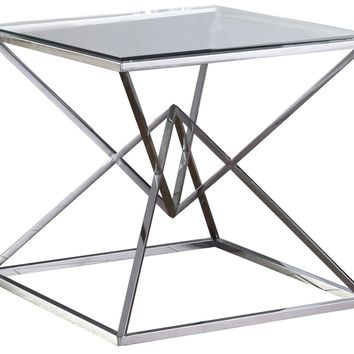 Vanessa Glass End Table Chrome Stainless Steel