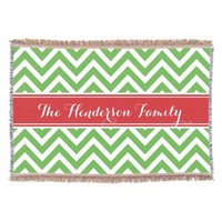 Red and Green Chevron Family Monogram Throw
