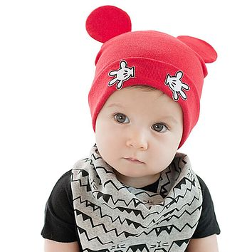 Hot New 2017 Newborn Baby Boys Girls Cute Mouse Ear Crochet Outfits Beanies Hat Unisex Kids Photography Props Caps Skullies Z1